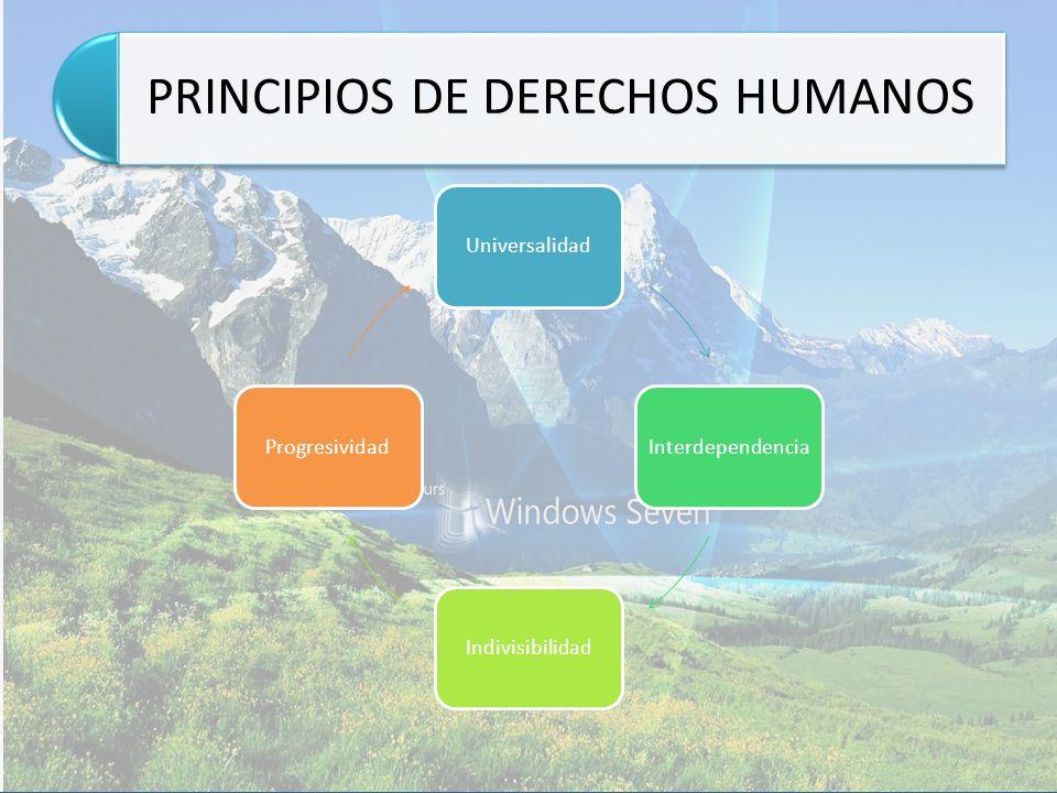 PRINCIPIOS DE DERECHOS HUMANOS UniversalidadInterdependenciaIndivisibilidadProgresividad