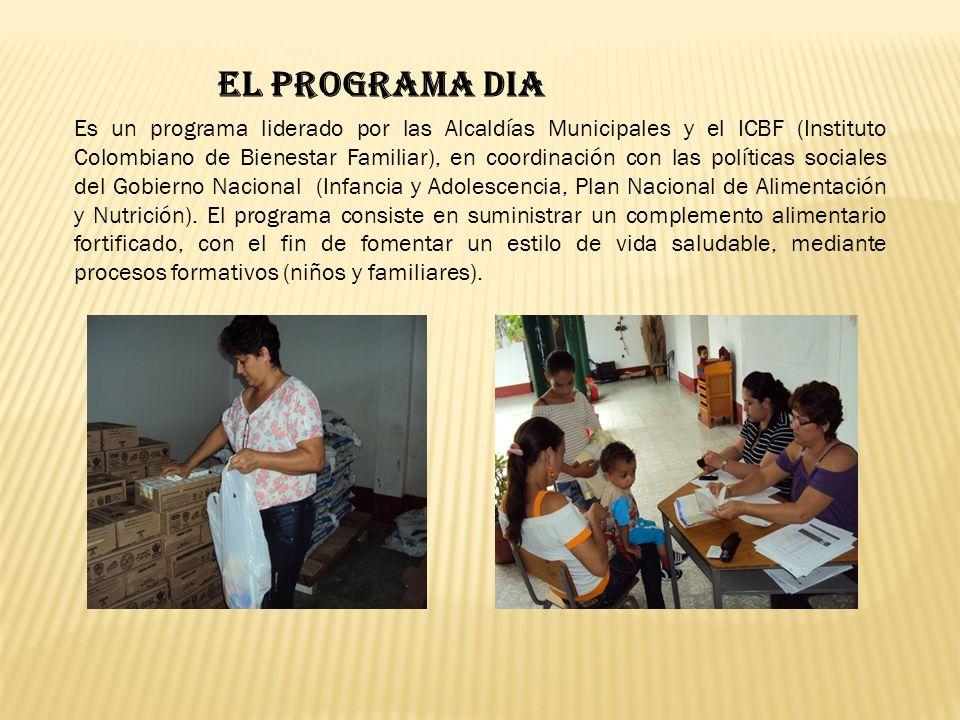 EL PROGRAMA DIA Es un programa liderado por las Alcaldías Municipales y el ICBF (Instituto Colombiano de Bienestar Familiar), en coordinación con las