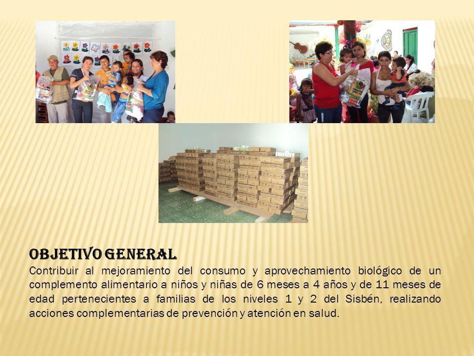 OBJETIVO GENERAL Contribuir al mejoramiento del consumo y aprovechamiento biológico de un complemento alimentario a niños y niñas de 6 meses a 4 años