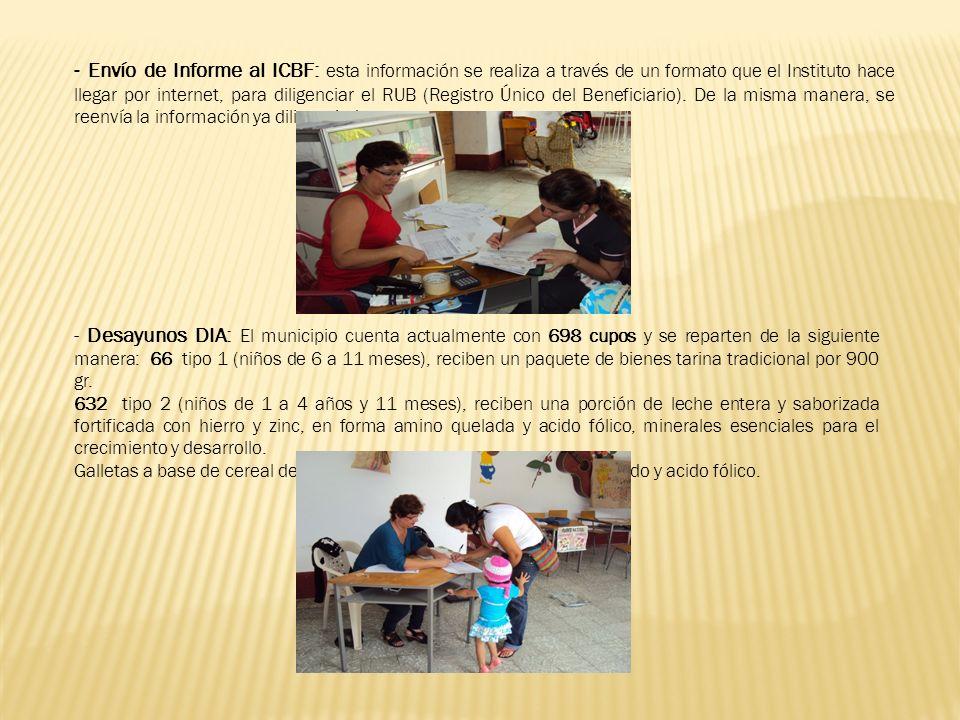 - Envío de Informe al ICBF: esta información se realiza a través de un formato que el Instituto hace llegar por internet, para diligenciar el RUB (Registro Único del Beneficiario).