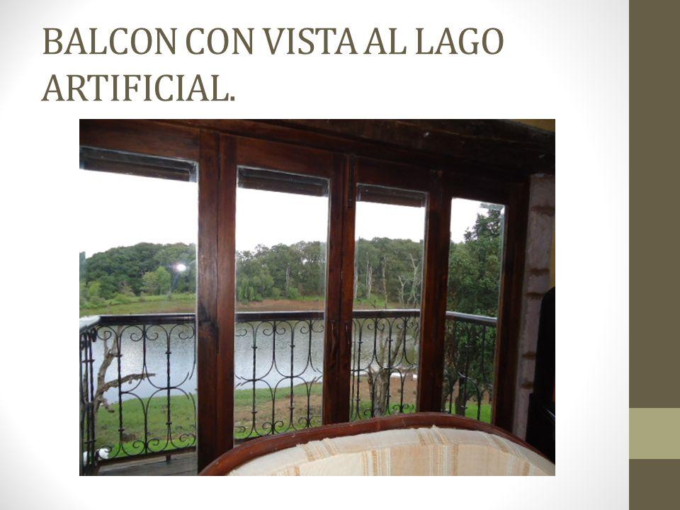 BALCON CON VISTA AL LAGO ARTIFICIAL.