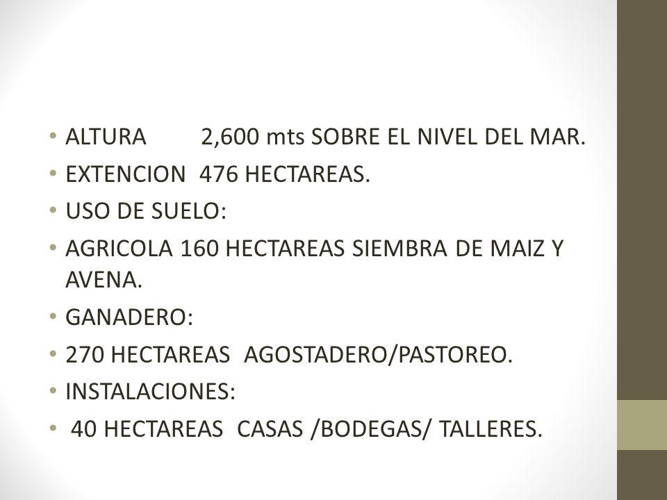 ALTURA 2,600 mts SOBRE EL NIVEL DEL MAR. EXTENCION 476 HECTAREAS. USO DE SUELO: AGRICOLA 160 HECTAREAS SIEMBRA DE MAIZ Y AVENA. GANADERO: 270 HECTAREA