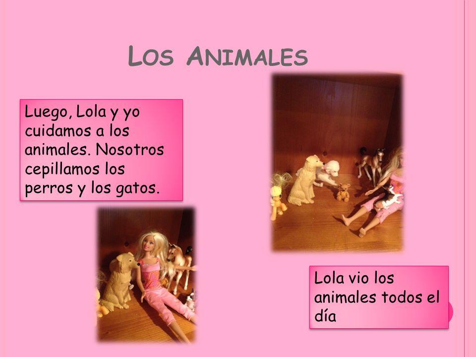 L OS A NIMALES Luego, Lola y yo cuidamos a los animales. Nosotros cepillamos los perros y los gatos. Lola vio los animales todos el día