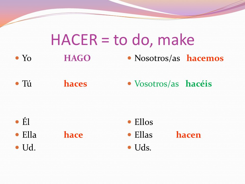 HACER = to do, make YoHAGO Túhaces Él Ellahace Ud.