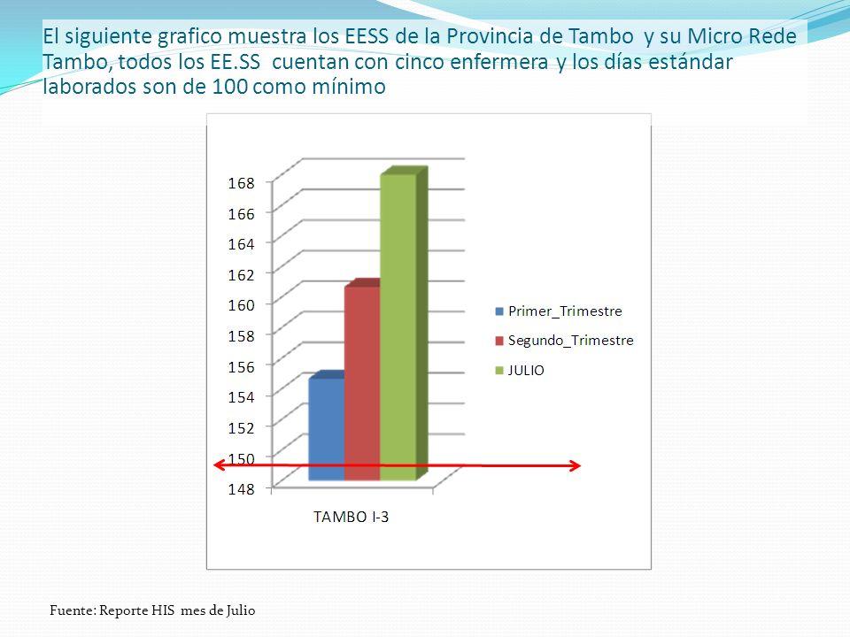 El siguiente grafico muestra los EESS de la Provincia de Tambo y su Micro Rede Tambo, todos los EE.SS cuentan con cinco enfermera y los días estándar