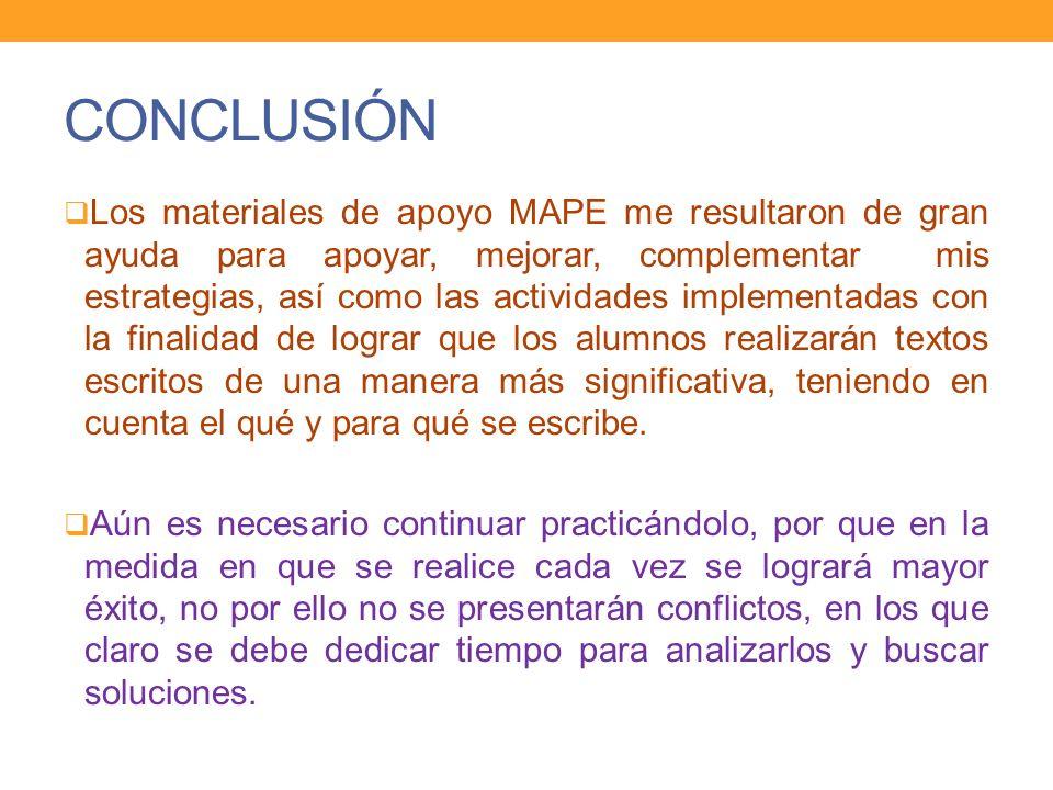 CONCLUSIÓN Los materiales de apoyo MAPE me resultaron de gran ayuda para apoyar, mejorar, complementar mis estrategias, así como las actividades imple