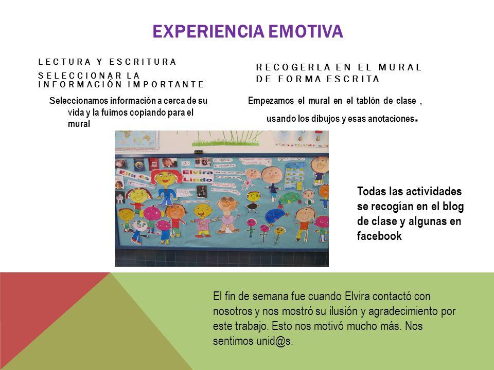 SEGUIMIENTO DE LA ACTIVIDAD MOTIVACIÓN PARA EL ALUMNADO Ya estábamos en contacto con Élvira usando las nuevas tecnologías y los espacios en la red y pensábamos que ella de alguna forma nos seguía.