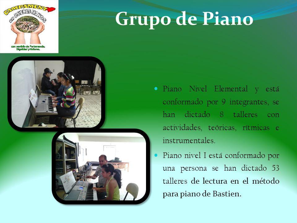 Grupo de Piano Piano Nivel Elemental y está conformado por 9 integrantes, se han dictado 8 talleres con actividades, teóricas, rítmicas e instrumentales.