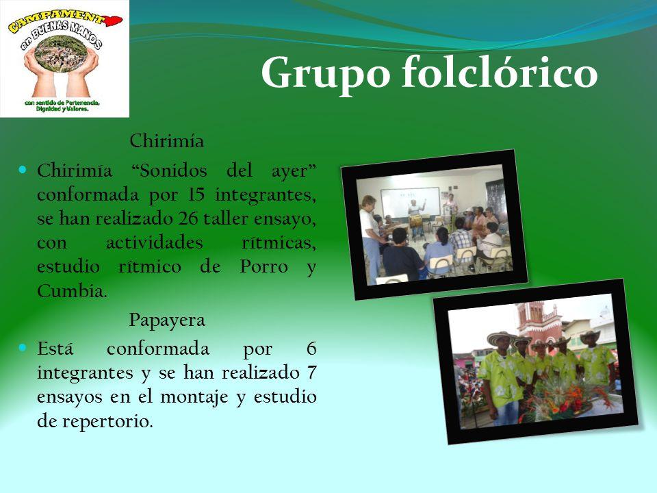 Grupo folclórico Chirimía Chirimía Sonidos del ayer conformada por 15 integrantes, se han realizado 26 taller ensayo, con actividades rítmicas, estudio rítmico de Porro y Cumbia.