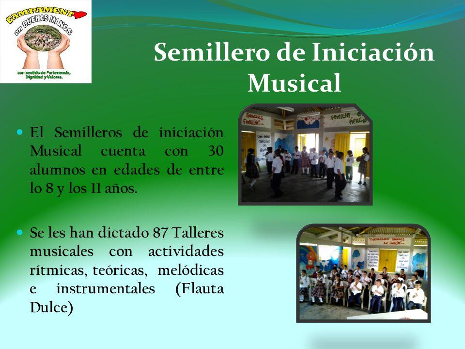 Semillero de Iniciación Instrumental Se cuenta con un total de 35 alumnos, los cuales se le han dictado 60 Talleres.