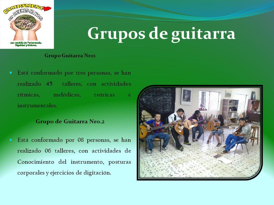 Grupos de guitarra Grupo Guitarra Nro1 Está conformado por tres personas, se han realizado 45 talleres, con actividades rítmicas, melódicas, teóricas e instrumentales.
