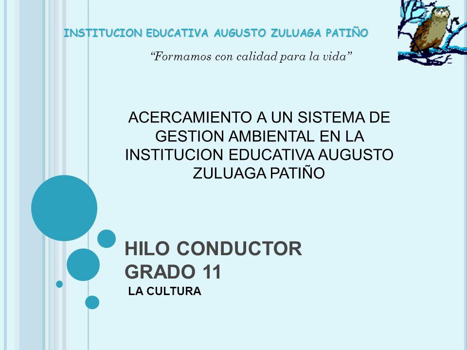 HILO CONDUCTOR GRADO 11 LA CULTURA Formamos con calidad para la vida INSTITUCION EDUCATIVA AUGUSTO ZULUAGA PATIÑO ACERCAMIENTO A UN SISTEMA DE GESTION