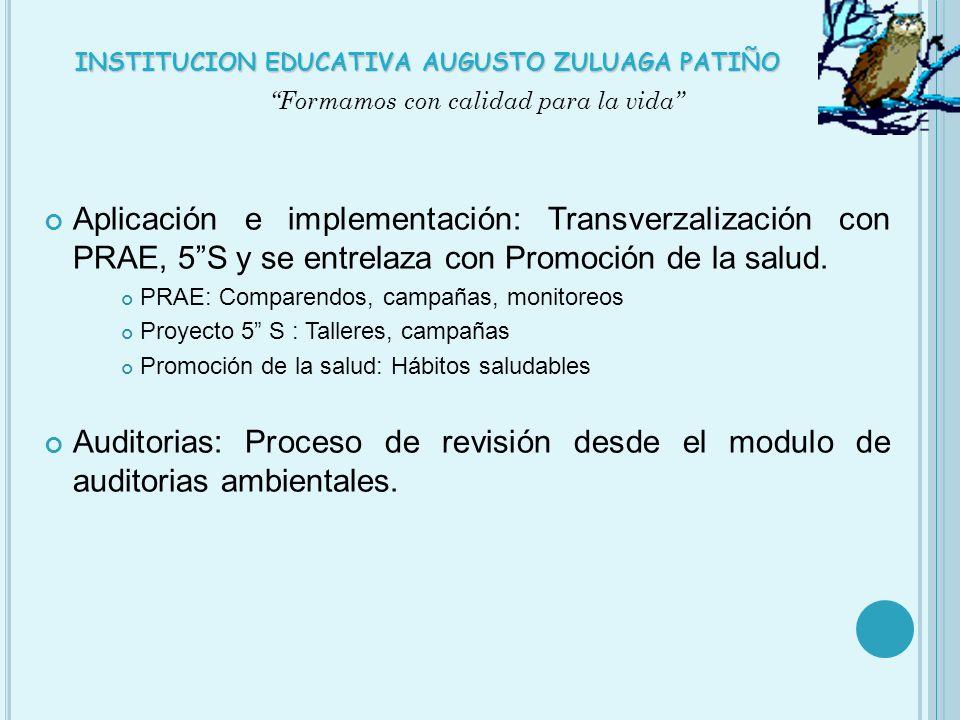 Aplicación e implementación: Transverzalización con PRAE, 5S y se entrelaza con Promoción de la salud. PRAE: Comparendos, campañas, monitoreos Proyect