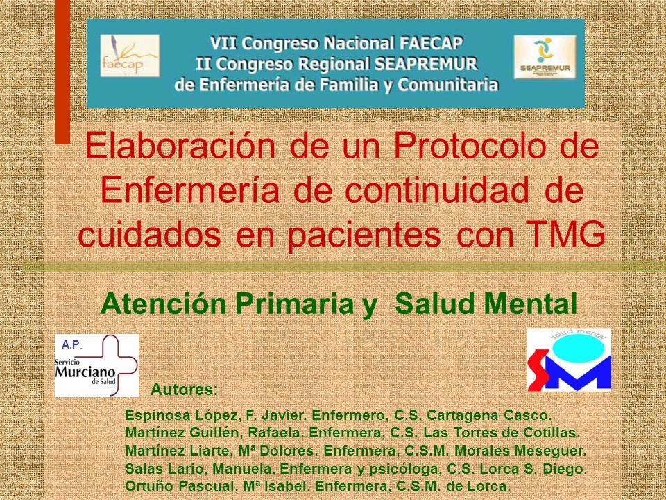 1 Elaboración de un Protocolo de Enfermería de continuidad de cuidados en pacientes con TMG Atención Primaria y Salud Mental A.P. Autores: Espinosa Ló