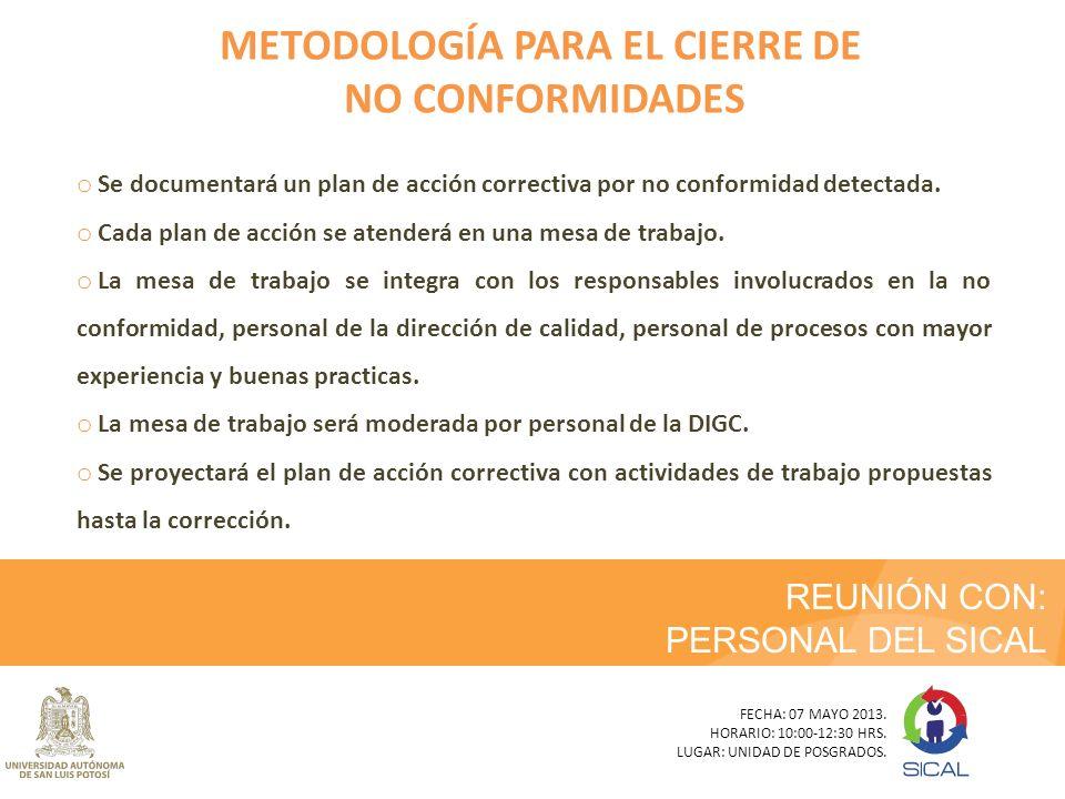 REUNIÓN CON: PERSONAL DEL SICAL FECHA: 07 MAYO 2013. HORARIO: 10:00-12:30 HRS. LUGAR: UNIDAD DE POSGRADOS. METODOLOGÍA PARA EL CIERRE DE NO CONFORMIDA