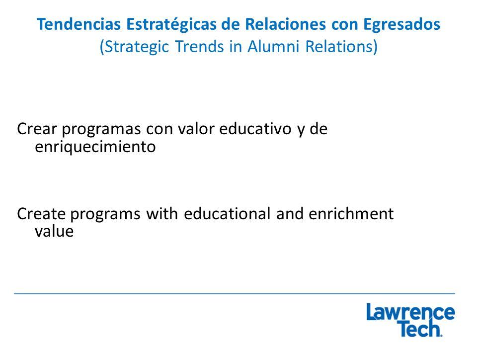 Tendencias Estratégicas de Relaciones con Egresados (Strategic Trends in Alumni Relations) Crear programas con valor educativo y de enriquecimiento Cr