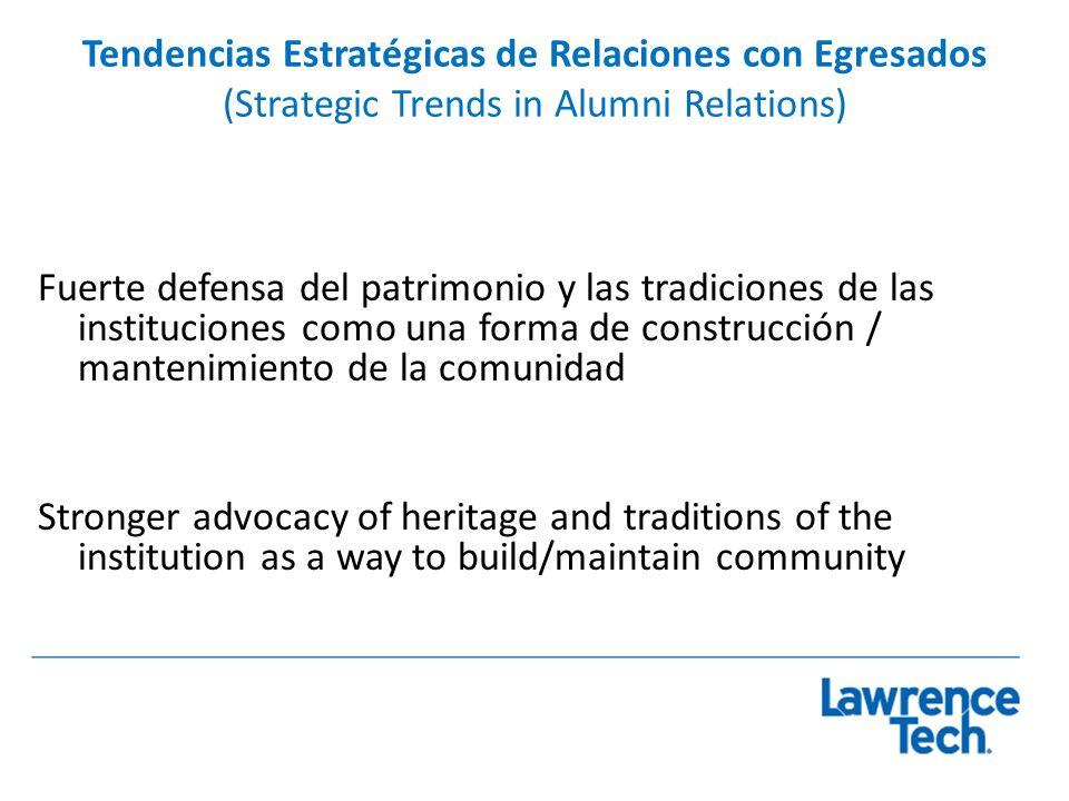 Tendencias Estratégicas de Relaciones con Egresados (Strategic Trends in Alumni Relations) Fuerte defensa del patrimonio y las tradiciones de las inst