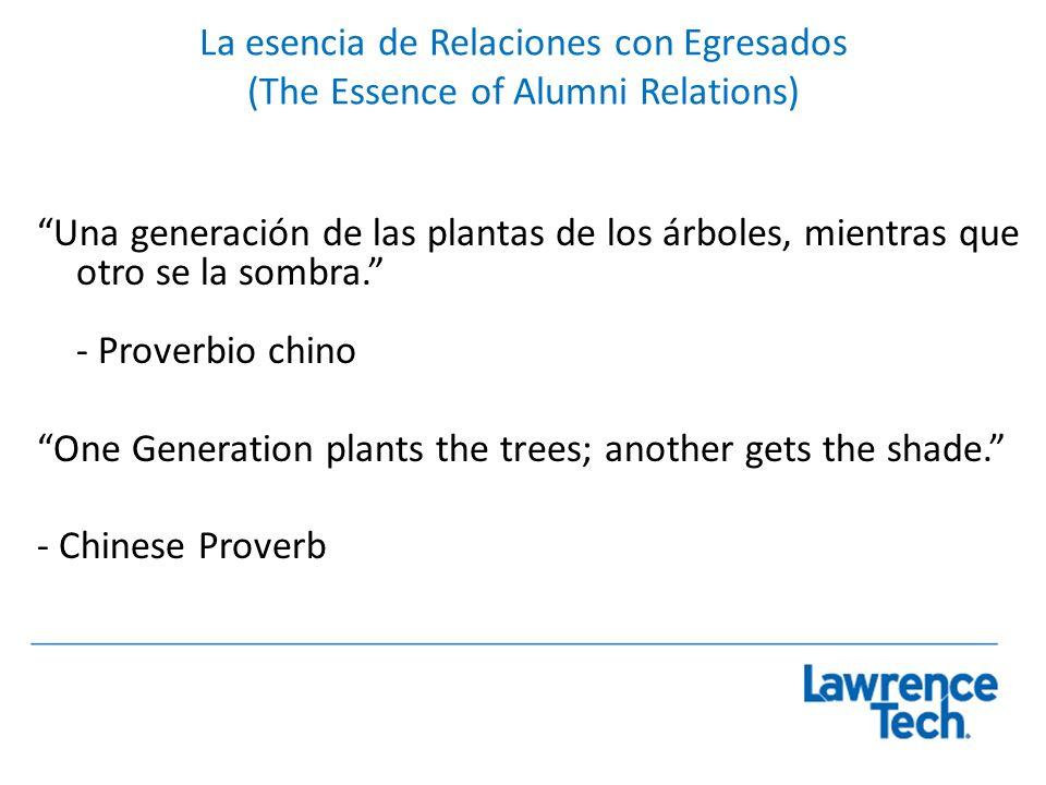La esencia de Relaciones con Egresados (The Essence of Alumni Relations) Una generación de las plantas de los árboles, mientras que otro se la sombra.