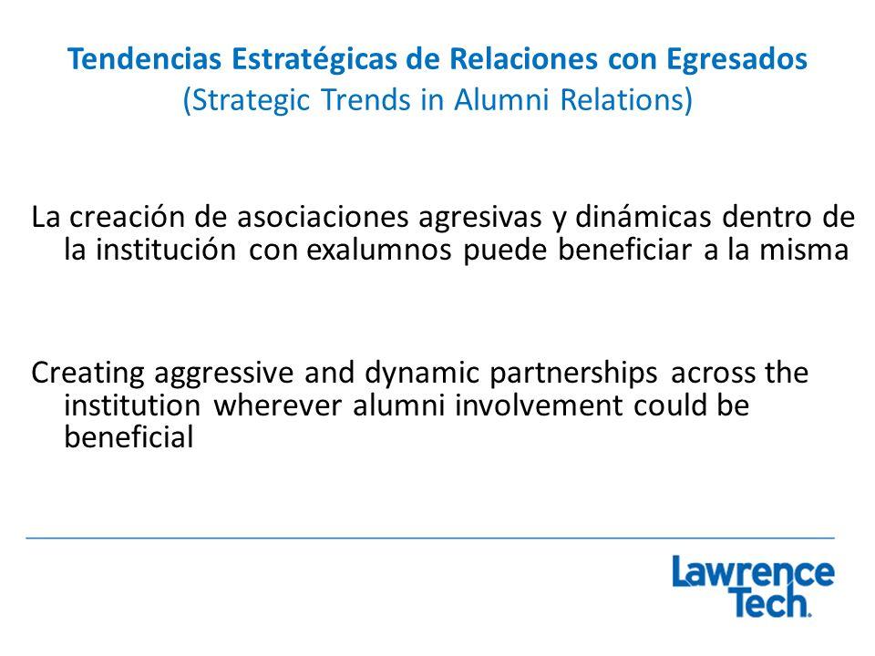 Tendencias Estratégicas de Relaciones con Egresados (Strategic Trends in Alumni Relations) La creación de asociaciones agresivas y dinámicas dentro de