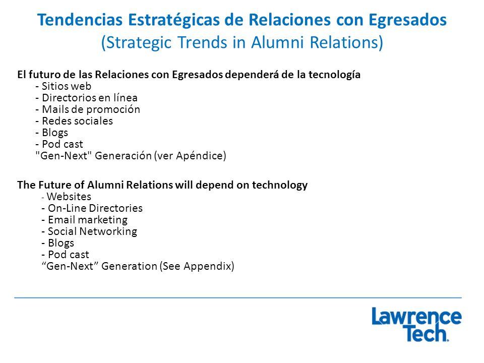 Tendencias Estratégicas de Relaciones con Egresados (Strategic Trends in Alumni Relations) El futuro de las Relaciones con Egresados dependerá de la t