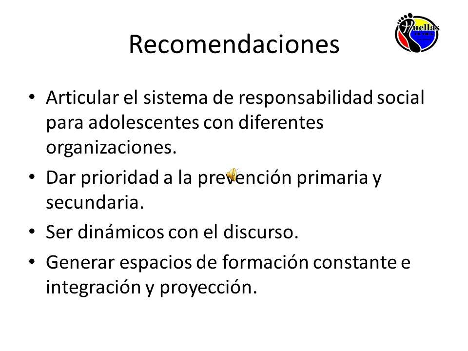 Recomendaciones Articular el sistema de responsabilidad social para adolescentes con diferentes organizaciones. Dar prioridad a la prevención primaria