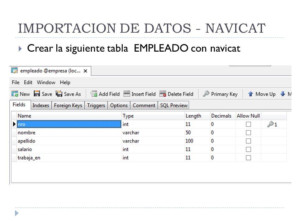 IMPORTACION DE DATOS - NAVICAT Crear la siguiente tabla EMPLEADO con navicat