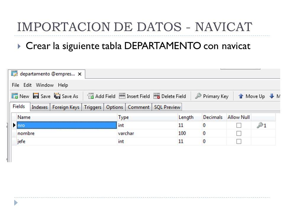 IMPORTACION DE DATOS - NAVICAT Crear la siguiente tabla DEPARTAMENTO con navicat