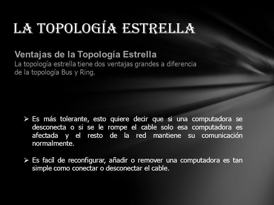 Comunicación en la Topología Estrella En una red estrella tipica, la señal pasa de la tarjeta de red (NIC) de la computadora que esta enviando el mens