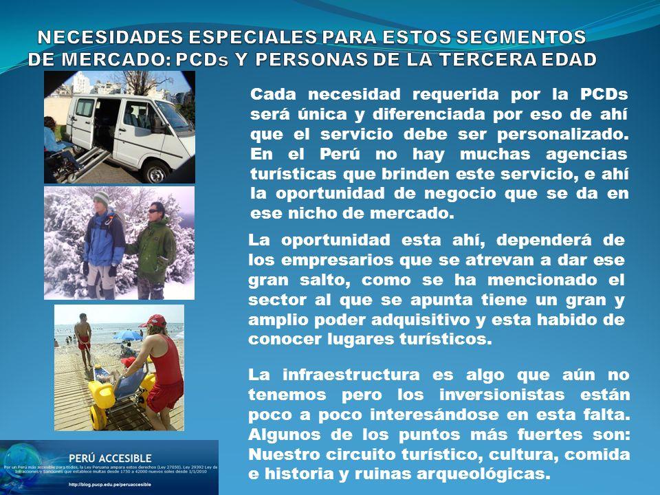 Cada necesidad requerida por la PCDs será única y diferenciada por eso de ahí que el servicio debe ser personalizado. En el Perú no hay muchas agencia