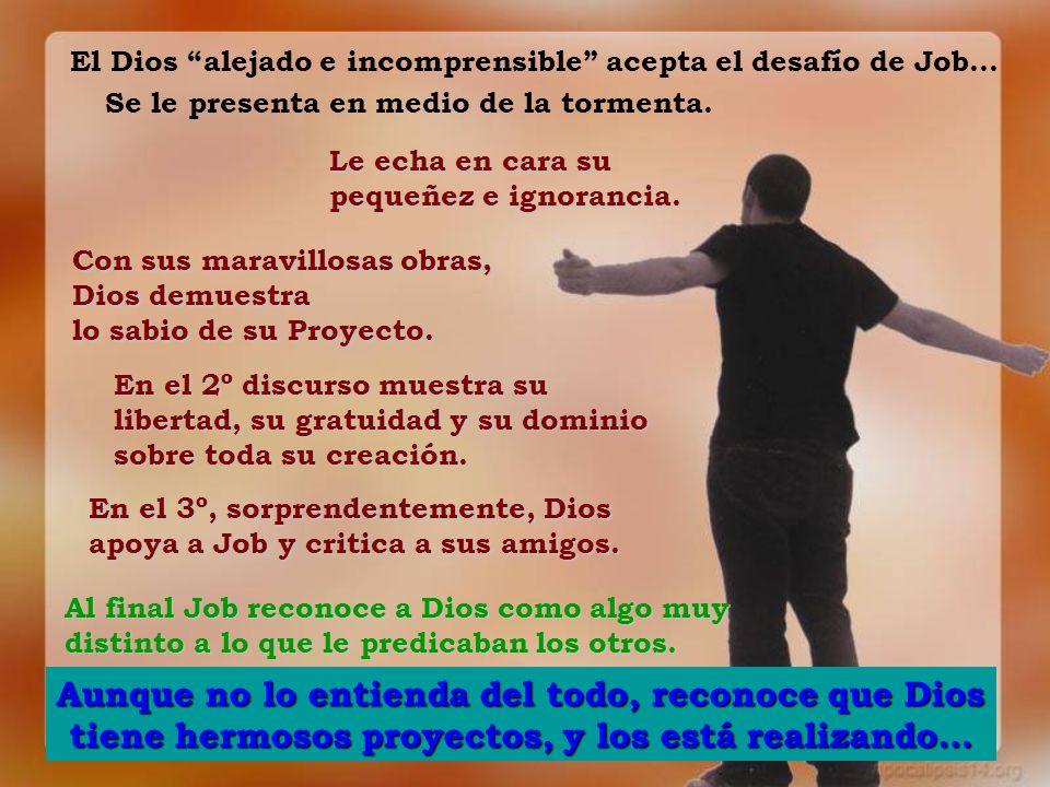 El Dios alejado e incomprensible acepta el desafío de Job… Se le presenta en medio de la tormenta. Le echa en cara su pequeñez e ignorancia. Con sus m