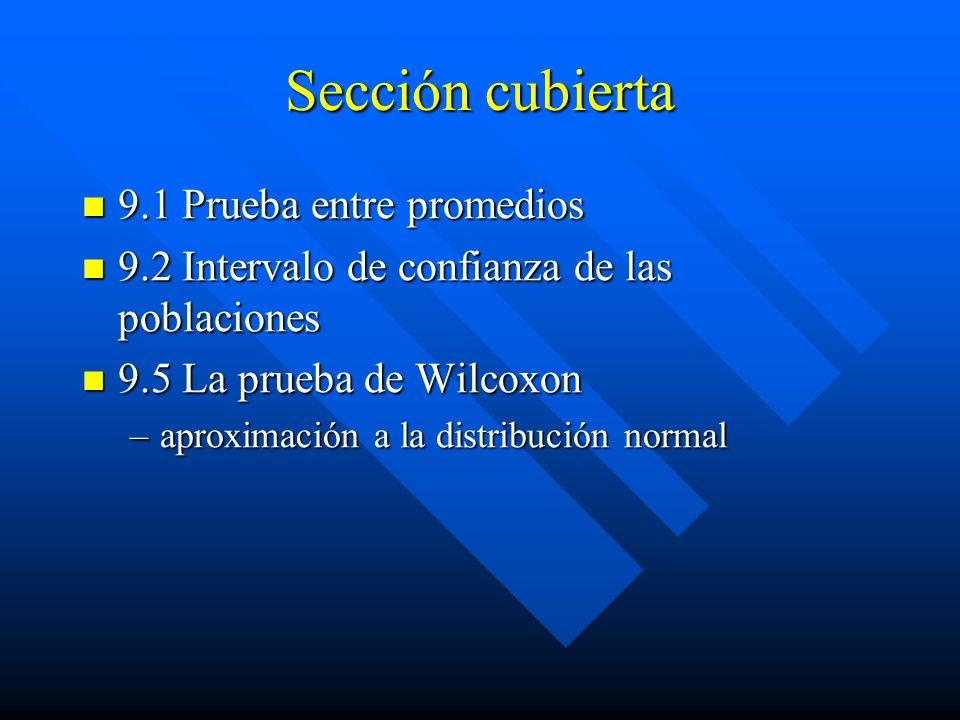 Sección cubierta 9.1 Prueba entre promedios 9.1 Prueba entre promedios 9.2 Intervalo de confianza de las poblaciones 9.2 Intervalo de confianza de las