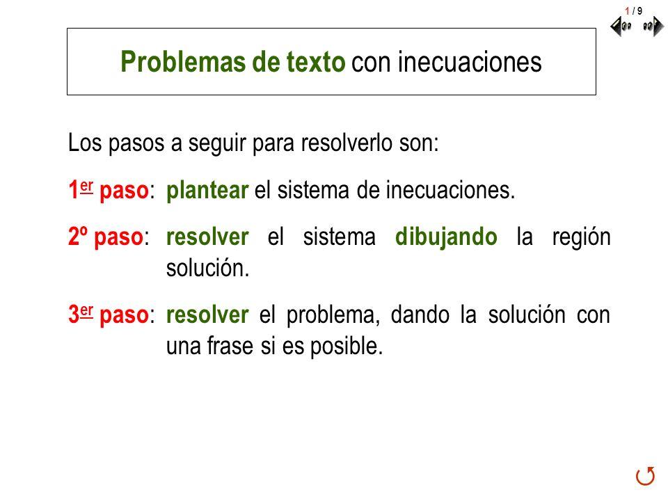 Problemas de texto con inecuaciones Los pasos a seguir para resolverlo son: 1 er paso : plantear el sistema de inecuaciones. 2º paso : resolver el sis