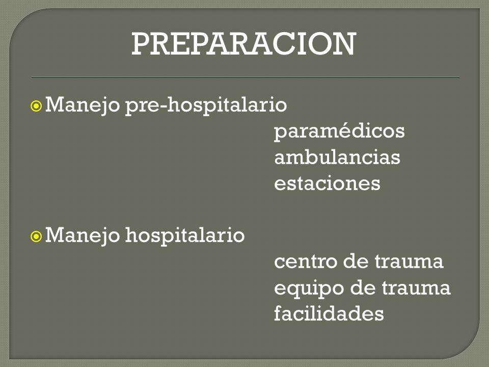 PREPARACION Manejo pre-hospitalario paramédicos ambulancias estaciones Manejo hospitalario centro de trauma equipo de trauma facilidades