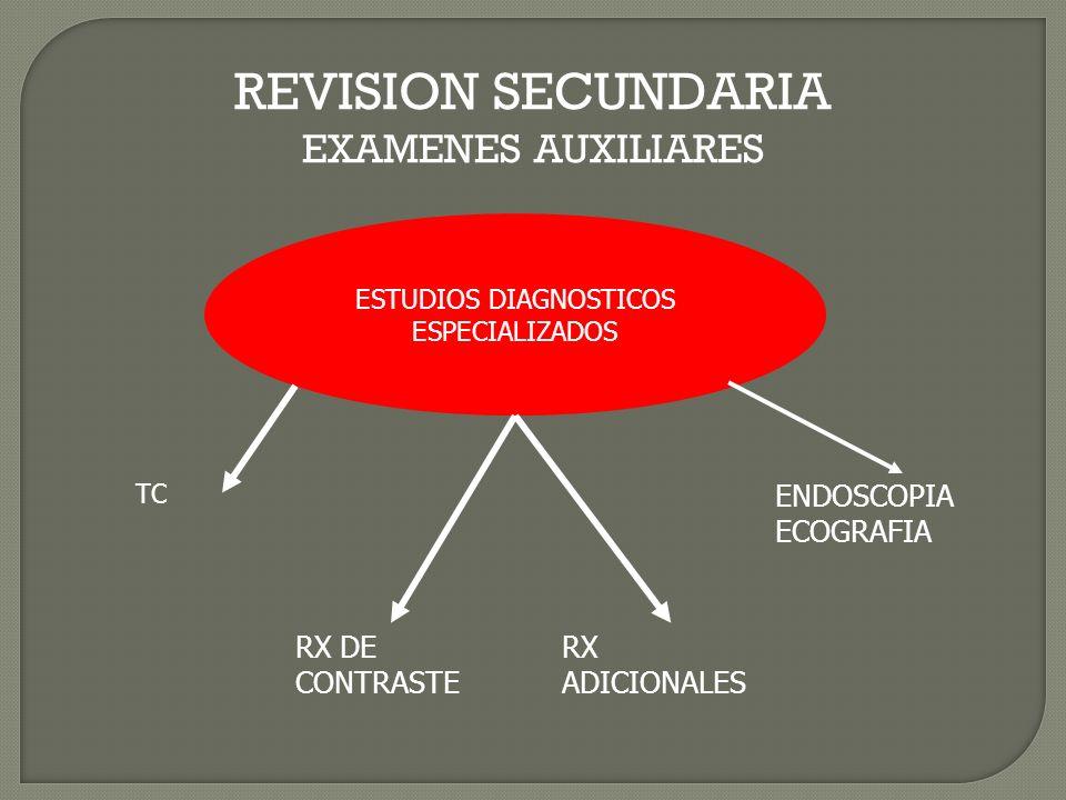 REVISION SECUNDARIA EXAMENES AUXILIARES ESTUDIOS DIAGNOSTICOS ESPECIALIZADOS TC RX DE CONTRASTE RX ADICIONALES ENDOSCOPIA ECOGRAFIA