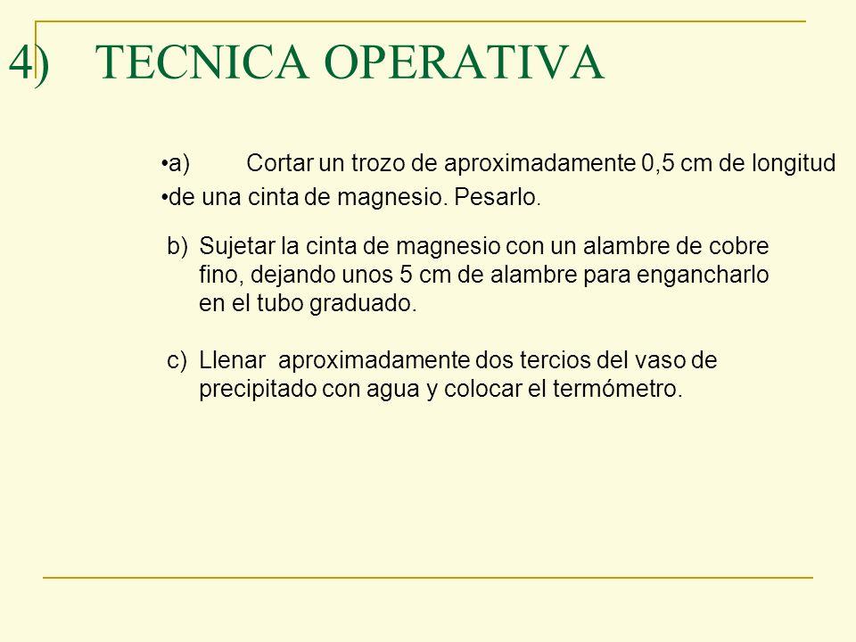 4)TECNICA OPERATIVA a)Cortar un trozo de aproximadamente 0,5 cm de longitud de una cinta de magnesio. Pesarlo. b)Sujetar la cinta de magnesio con un a