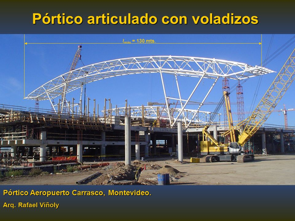 Pórtico articulado con voladizos Pórtico Aeropuerto Carrasco, Montevideo. Arq. Rafael Viñoly máx = 130 mts.
