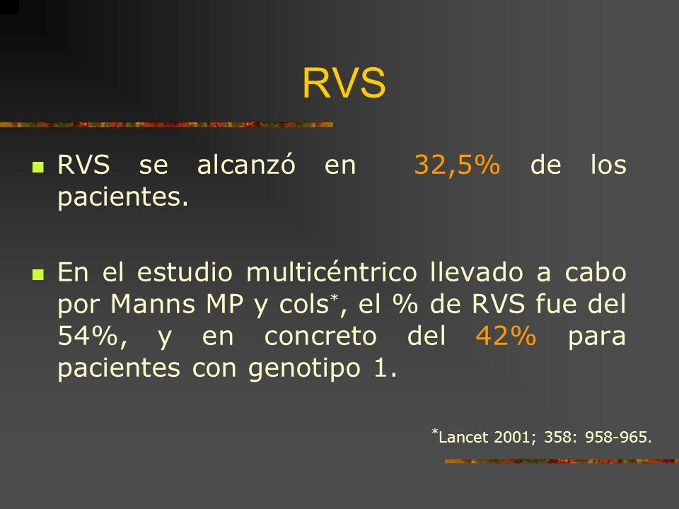 RVS RVS se alcanzó en 32,5% de los pacientes. En el estudio multicéntrico llevado a cabo por Manns MP y cols *, el % de RVS fue del 54%, y en concreto