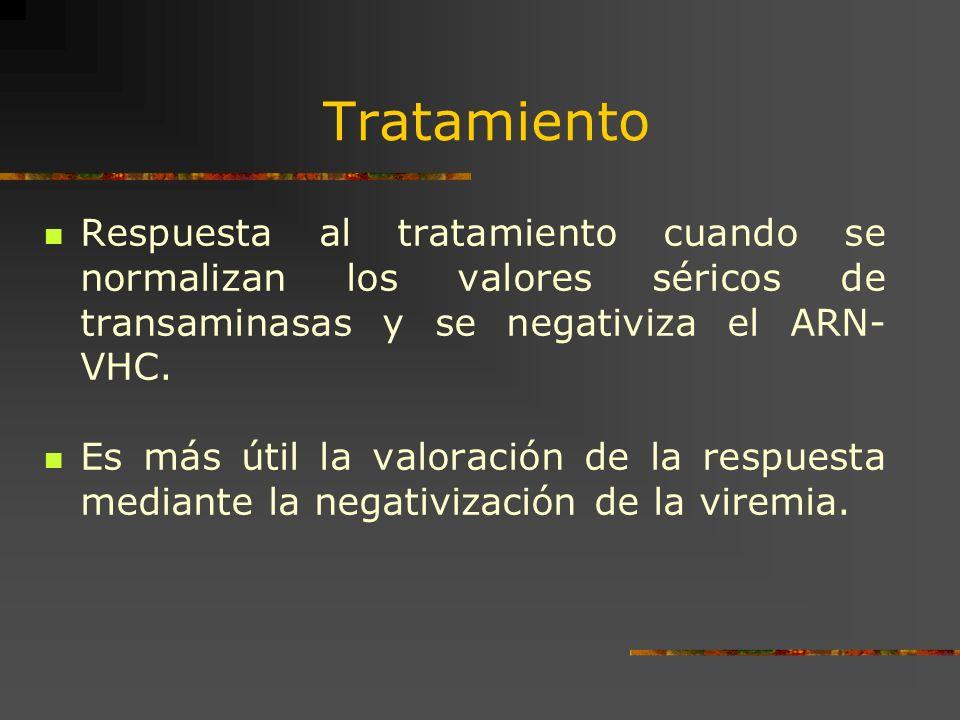 Tratamiento Respuesta al tratamiento cuando se normalizan los valores séricos de transaminasas y se negativiza el ARN- VHC. Es más útil la valoración