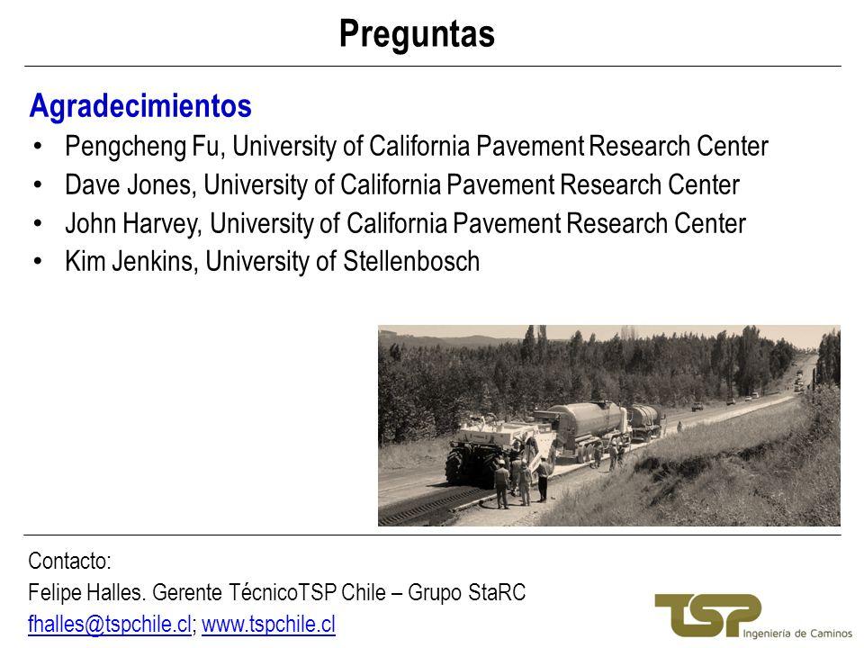 Preguntas Agradecimientos Contacto: Felipe Halles. Gerente TécnicoTSP Chile – Grupo StaRC fhalles@tspchile.clfhalles@tspchile.cl; www.tspchile.clwww.t