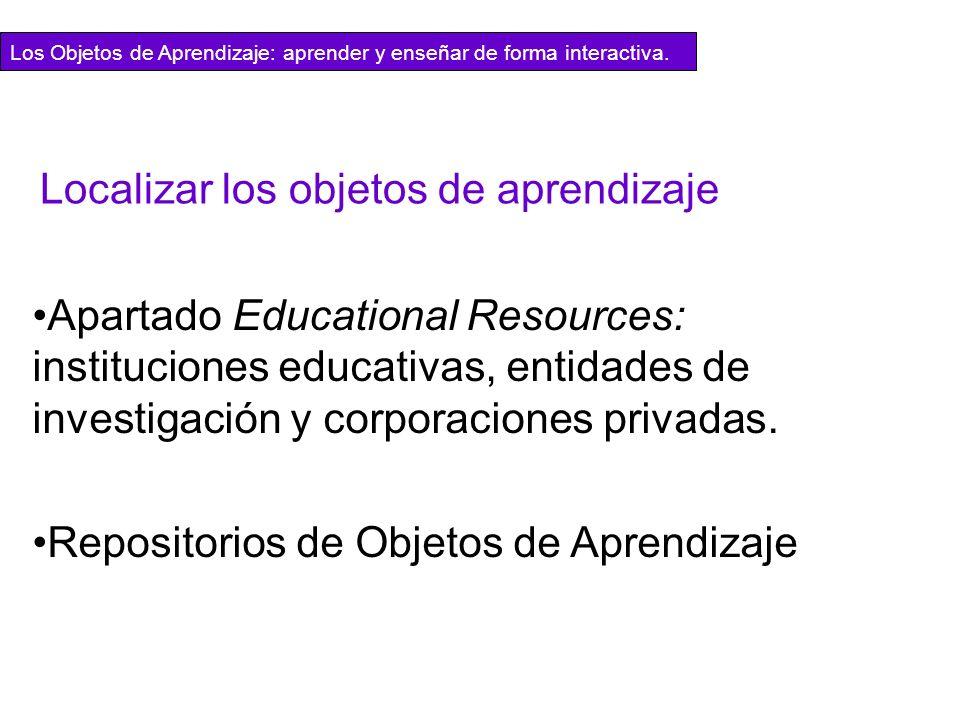 Localizar los objetos de aprendizaje Apartado Educational Resources: instituciones educativas, entidades de investigación y corporaciones privadas. Re
