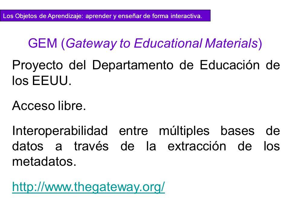 Proyecto del Departamento de Educación de los EEUU. Acceso libre. Interoperabilidad entre múltiples bases de datos a través de la extracción de los me