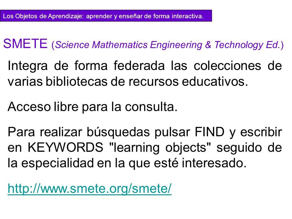 Integra de forma federada las colecciones de varias bibliotecas de recursos educativos. Acceso libre para la consulta. Para realizar búsquedas pulsar