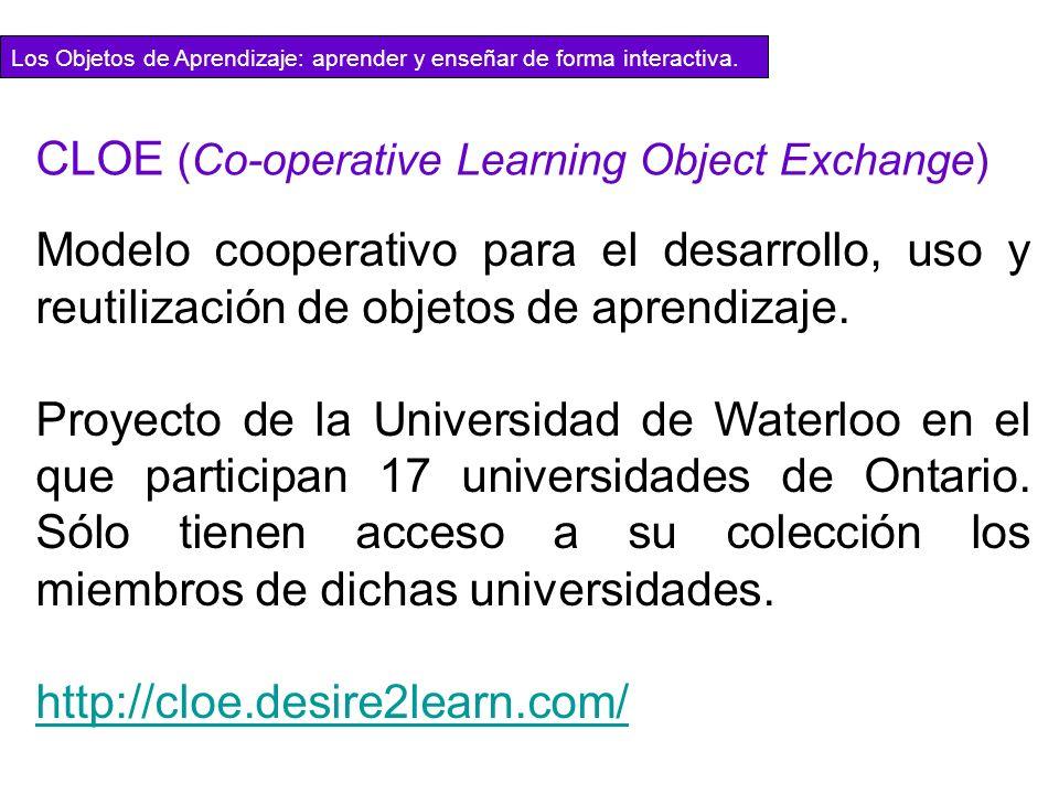 Modelo cooperativo para el desarrollo, uso y reutilización de objetos de aprendizaje. Proyecto de la Universidad de Waterloo en el que participan 17 u