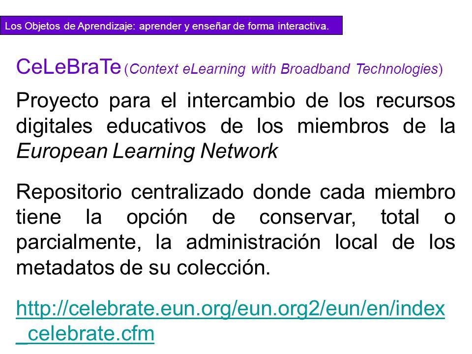 Proyecto para el intercambio de los recursos digitales educativos de los miembros de la European Learning Network Repositorio centralizado donde cada
