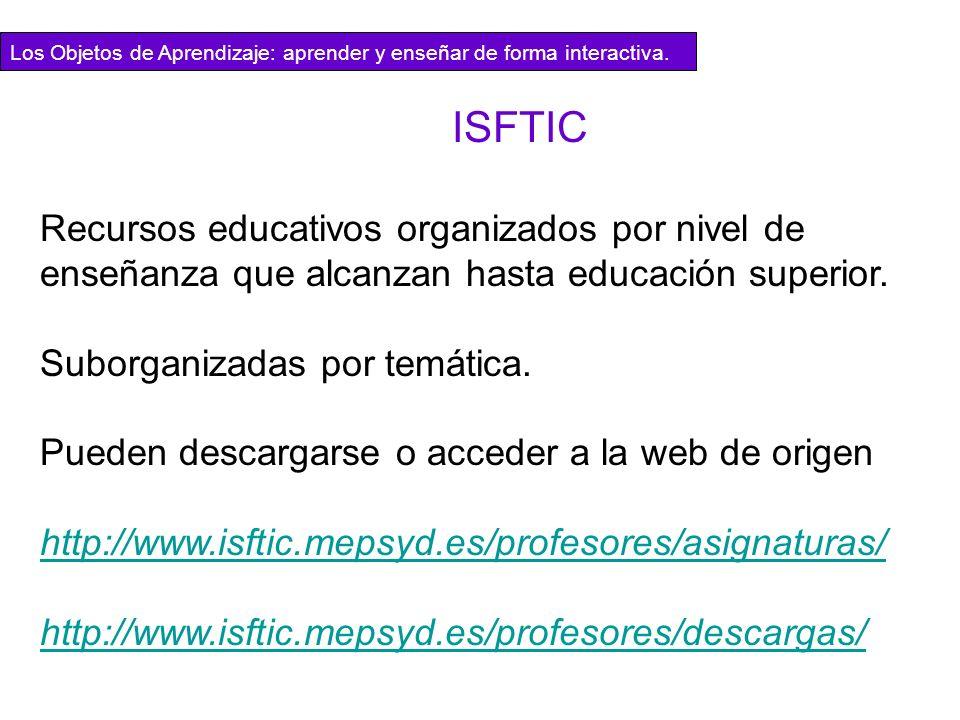 ISFTIC Recursos educativos organizados por nivel de enseñanza que alcanzan hasta educación superior. Suborganizadas por temática. Pueden descargarse o
