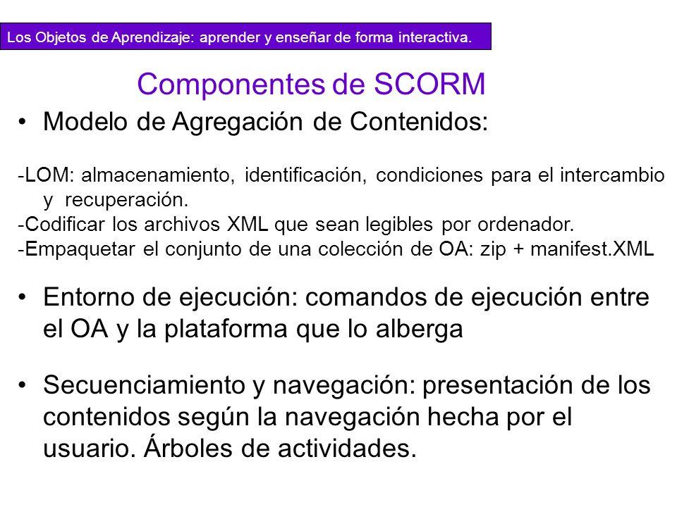 Componentes de SCORM Modelo de Agregación de Contenidos: -LOM: almacenamiento, identificación, condiciones para el intercambio y recuperación. -Codifi