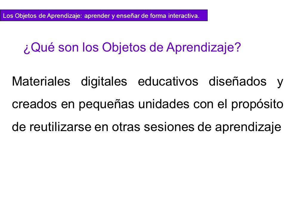 Materiales digitales educativos diseñados y creados en pequeñas unidades con el propósito de reutilizarse en otras sesiones de aprendizaje ¿Qué son lo