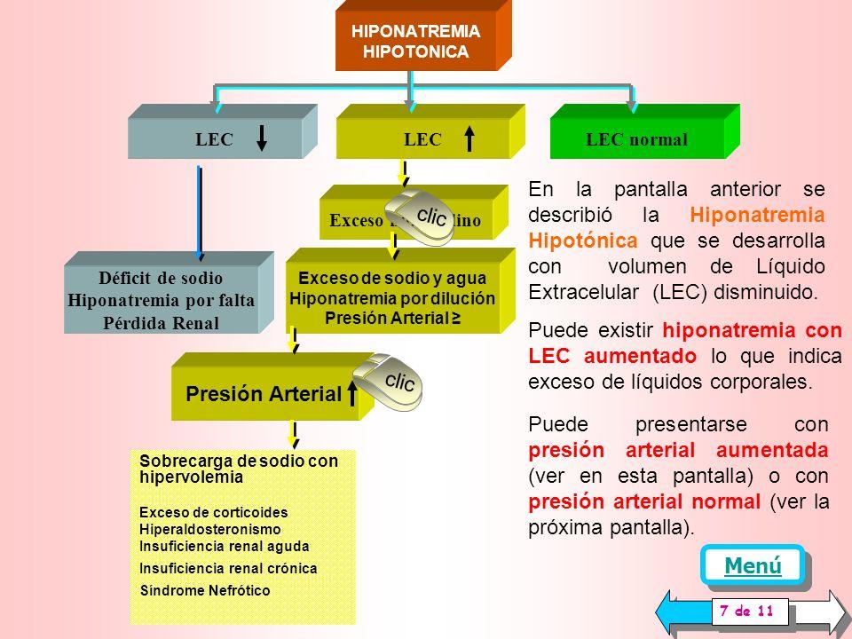 Diabetes Diuréticos Hipercalcemia Insuficiencia suprarrenal Neuropatía Pérdidas Urinarias Túbulopatía LEC normal La Hiponatremia Hipotónica que se desarrolla se llama también Hiponatremia Verdadera.