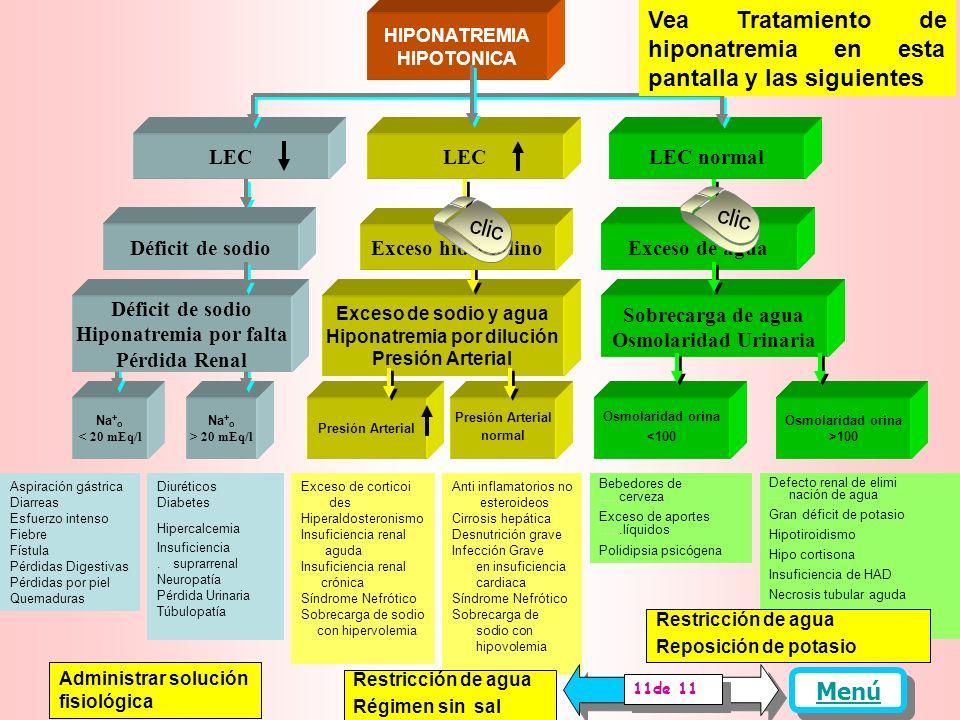 Defecto renal de elimina........ción de agua Gran déficit de potasio Hipotiroidismo Hipo cortisona Insuficiencia de HAD Necrosis tubular aguda Síndrome de ajuste......osmolar Osmolaridad orina >100 mOsm/l clic Sobrecarga de agua Osmolaridad Urinaria LEC normal LEC HIPONATREMIA HIPOTONICA Exceso de agua Osmolaridad orina <100 mOsm/l Bebedores de cerveza Exceso de aportes líquidos Polidipsia psicógena Exceso de sodio y agua Hiponatremia por dilución Presión Arterial Déficit de sodio Hiponatremia por falta Pérdida Renal Menú Se han descrito Hiponatremias con LEC disminuido, aumentado y normal.
