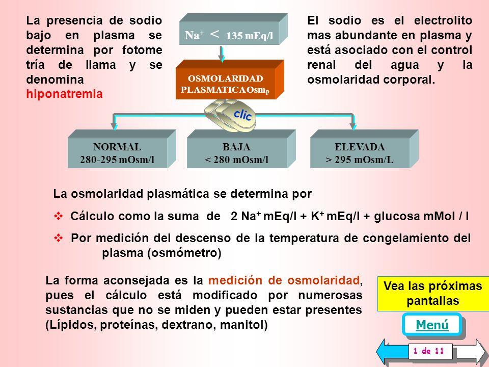 HIPONATREMIA HIPERHIDRATACION CELULAR MUCOSAS Húmedas SIGNOS NEUROFISICOS Astenia Calambres, neuralgias, cefaleas Convulsiones, coma Delirio, agitación Edema cerebral TEMPERATURA Normal PESO Normal DIURESIS Normal HIPONATREMIA HIPERHIDRATACION CELULAR MUCOSAS Húmedas SIGNOS NEUROFISICOS Astenia Calambres, neuralgias, cefaleas Convulsiones, coma Delirio, agitación Edema cerebral TEMPERATURA Normal PESO Normal DIURESIS Normal HIPERNATREMIA DESHIDRATACION CELULAR MUCOSAS Secas SIGNOS NEUROFÍSICOS Convulsiones, coma Delirio, agitación Hematoma intracerebral Mialgia Respiración irregular Somnolencia Trombosis Capilares TEMPERATURA Aumentada PESO disminuido DIURESIS conservada o baja 1 de 1 Menú